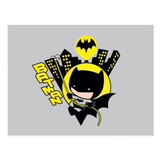 Chibi Batman Scaling The City Postcard