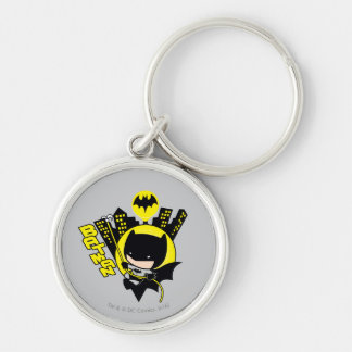 Chibi Batman Scaling The City Silver-Colored Round Keychain