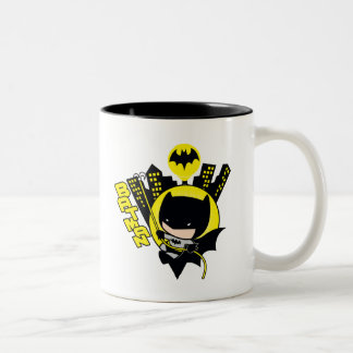 Chibi Batman Scaling The City Two-Tone Coffee Mug