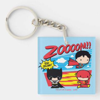 Chibi Batman Too Slow! Double-Sided Square Acrylic Keychain