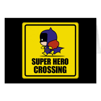 Chibi Batwoman Super Hero Crossing Sign Card