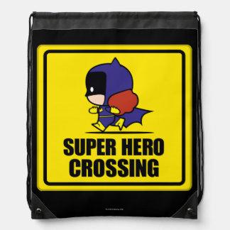 Chibi Batwoman Super Hero Crossing Sign Drawstring Bag