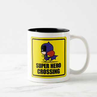 Chibi Batwoman Super Hero Crossing Sign Two-Tone Coffee Mug