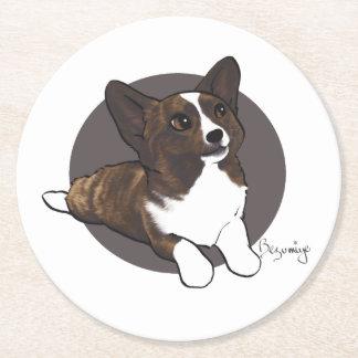 Chibi Brindle Cardigan Corgi Round Paper Coaster