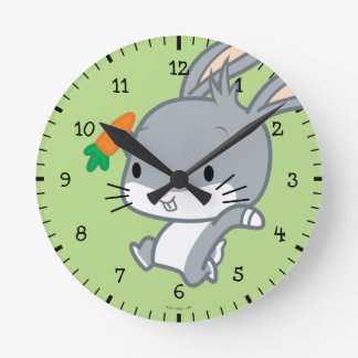 Chibi BUGS BUNNY™ With Carrot Round Clock
