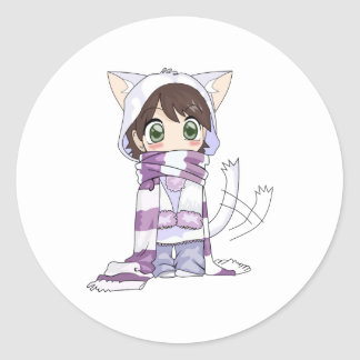 chibi cat anime girl sticker