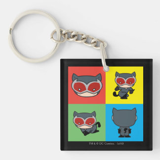 Chibi Catwoman Character Poses Double-Sided Square Acrylic Keychain