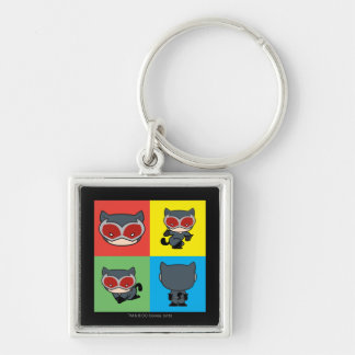 Chibi Catwoman Character Poses Silver-Colored Square Keychain