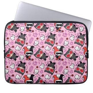 Chibi Catwoman, Harley Quinn, & Kittens Pattern Laptop Sleeve