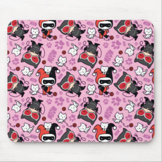 Chibi Catwoman, Harley Quinn, & Kittens Pattern Mouse Pad