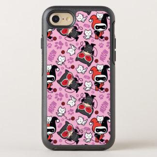 Chibi Catwoman, Harley Quinn, & Kittens Pattern OtterBox Symmetry iPhone 8/7 Case