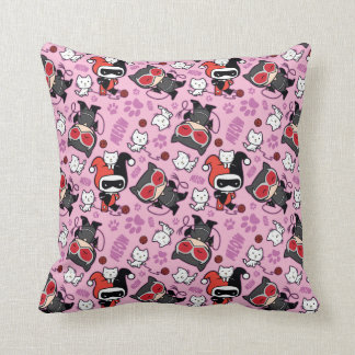 Chibi Catwoman, Harley Quinn, & Kittens Pattern Throw Pillow