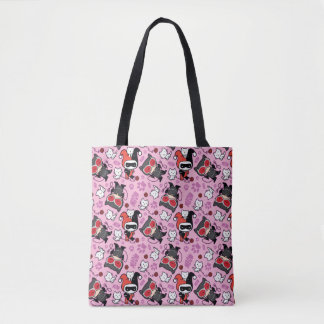 Chibi Catwoman, Harley Quinn, & Kittens Pattern Tote Bag
