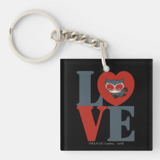 Chibi Catwoman LOVE Double-Sided Square Acrylic Keychain