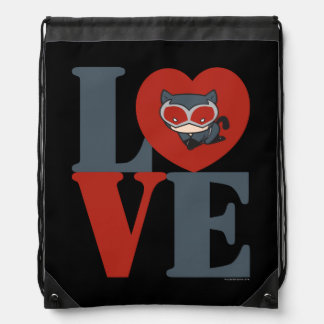 Chibi Catwoman LOVE Drawstring Bag