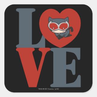 Chibi Catwoman LOVE Square Sticker
