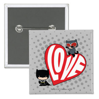 Chibi Catwoman Pounce on Batman 2 Inch Square Button