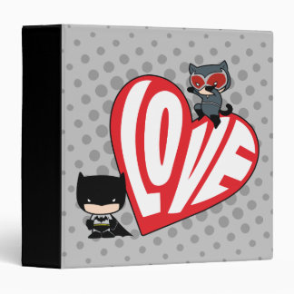 Chibi Catwoman Pounce on Batman 3 Ring Binders