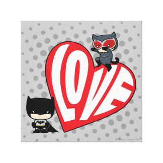 Chibi Catwoman Pounce on Batman Canvas Print