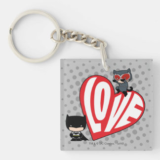 Chibi Catwoman Pounce on Batman Double-Sided Square Acrylic Keychain