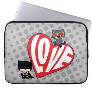 Chibi Catwoman Pounce on Batman Laptop Sleeve
