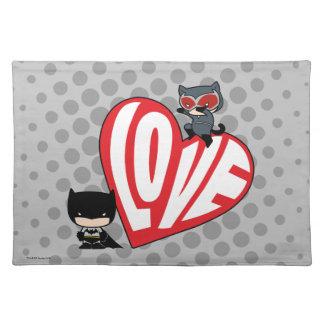 Chibi Catwoman Pounce on Batman Placemat