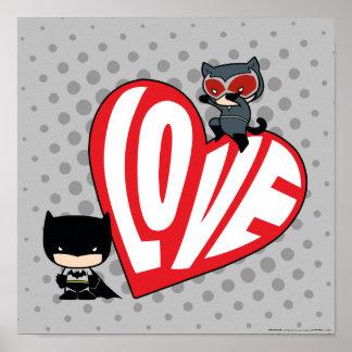 Chibi Catwoman Pounce on Batman Poster
