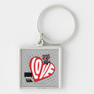 Chibi Catwoman Pounce on Batman Silver-Colored Square Keychain
