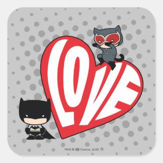Chibi Catwoman Pounce on Batman Square Sticker
