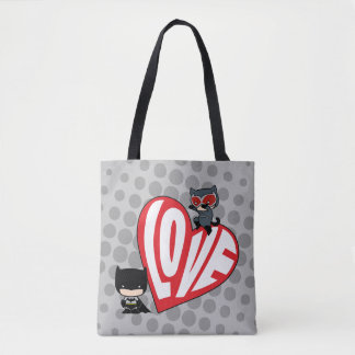 Chibi Catwoman Pounce on Batman Tote Bag