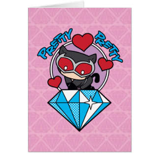 Chibi Catwoman Sitting Atop Large Diamond Card