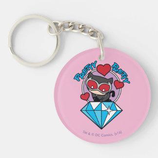 Chibi Catwoman Sitting Atop Large Diamond Double-Sided Round Acrylic Keychain