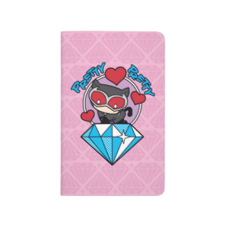 Chibi Catwoman Sitting Atop Large Diamond Journal