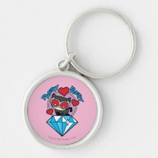Chibi Catwoman Sitting Atop Large Diamond Keychain