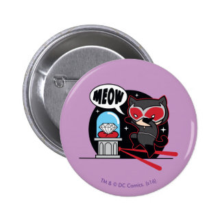 Chibi Catwoman Stealing A Diamond 2 Inch Round Button