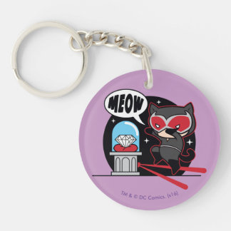 Chibi Catwoman Stealing A Diamond Double-Sided Round Acrylic Keychain