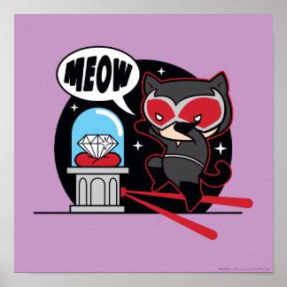 Chibi Catwoman Stealing A Diamond Poster