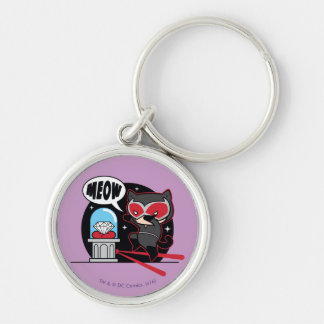 Chibi Catwoman Stealing A Diamond Silver-Colored Round Keychain