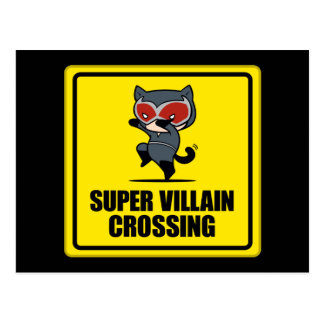 Chibi Catwoman Super Villain Crossing Sign Postcard