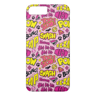 Chibi Comic Phrases and Logos Pattern iPhone 7 Plus Case