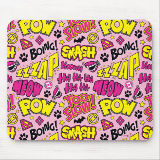 Chibi Comic Phrases and Logos Pattern Mouse Pad