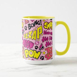 Chibi Comic Phrases and Logos Pattern Mug