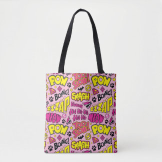 Chibi Comic Phrases and Logos Pattern Tote Bag