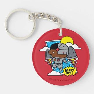 Chibi Cyborg Blast Off! Double-Sided Round Acrylic Keychain