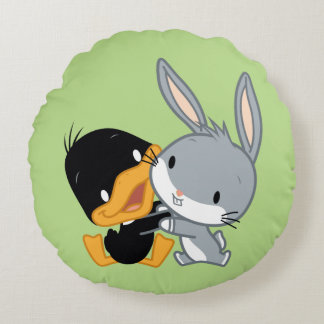 Chibi DAFFY DUCK™ & BUGS BUNNY™ Round Pillow