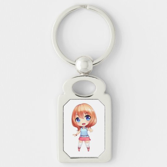 Chibi Dee Dee Deluxe Keyring Silver-Colored Rectangle Keychain