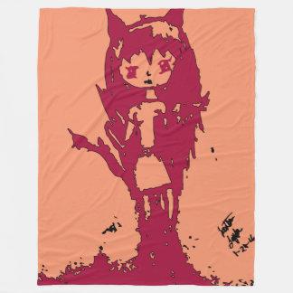 Chibi Demon on Peach by Reddawolf Fleece Blanket