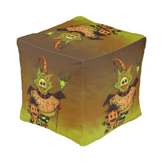 CHIBI DOLLS HALLOWEEN Polyester Cubed Pouf (Small)