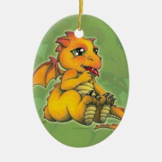Chibi Dragon Ceramic Oval Ornament