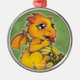Chibi Dragon Silver-Colored Round Ornament